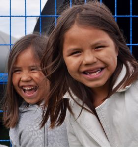 Large smiles were worn by Serena Seymour, 7, and her sister Ciara, 5, who were visiting with their parents from Stz'uminus First Nation