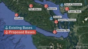 map of existing and proposed oil spill response bases