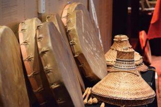 Hide drums and cedar hats