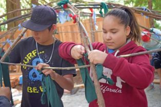 Youth build framework of sweat lodge