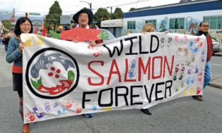 people marching for wild salmon protection