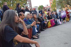 crowd gathered at Sisters in Spirit vigil