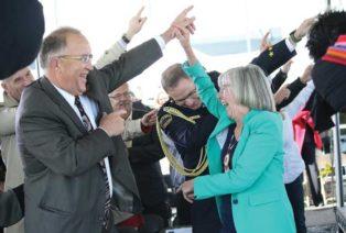 Ralph Nilson and Judith Guichon celebrate