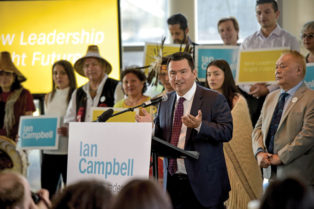 Ian Campbell at a political rally