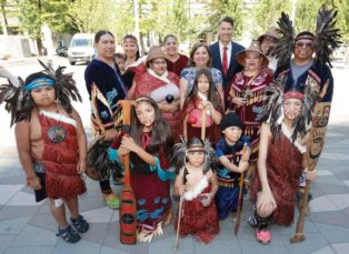 First Nations representatives at plaza naming ceremony