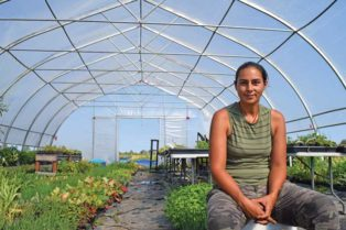 woman in plant nursery